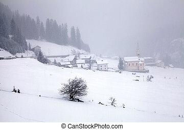 góry, zima, alpy, na, alpin, wieś, swit, śnieżyca