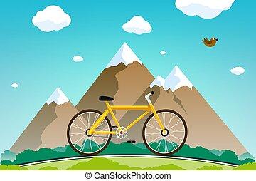 góry, zmarszczenie, rower, droga, tło.