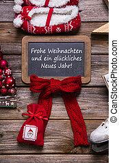 gót betűk, -, vidám, díszes, karácsonyi üdvözlőlap, piros