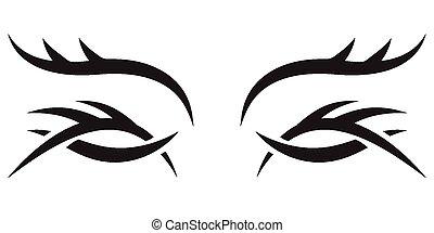 gót, szemek, vektor, pattern.