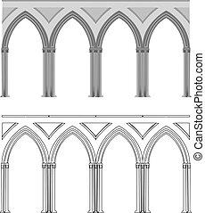 gótico, arco, e, coluna