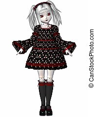 gótico, boneca