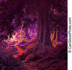 gótico, bosque