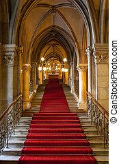 gótico, castelo, interior