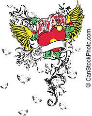 gótico, coração, tatuagem