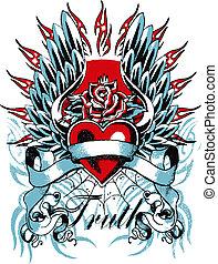 gótico, corazón, y, ala