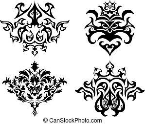 gótico, emblema, conjunto