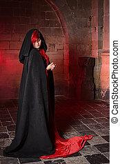 gótico, feiticeira, vermelho
