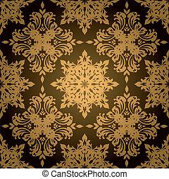 gótico, hoja, oro