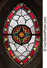 gótico, janela, de, vidro manchado