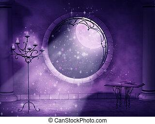 gótico, mágico, noche