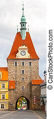gótico, más bajo, puerta, en, domazlice, república checa