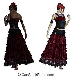 gótico, menina, vestido, vermelho
