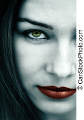 gótico, mulher, com, pálido, rosto, e, lábios vermelhos