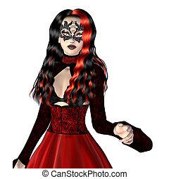 gótico, mulher, em, vestido vermelho