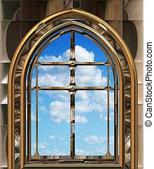 gótico, o, scifi, ventana, con, cielo azul