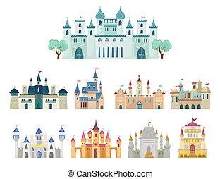 gótico, real, ciudadela, vector, edificios, plano, histórico...