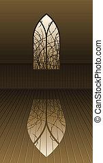 gótico, ventana, con, espinas