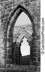 gótico, windows, en, negro y blanco