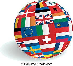 gömb, földgolyó, zászlók, európai