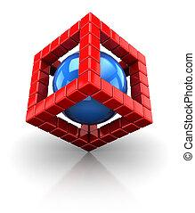 gömb, köb, szerkezet, 3