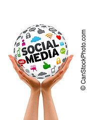 gömb, média, társadalmi, hatalom kezezés
