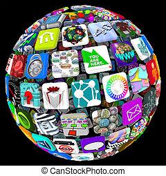 gömb, mozgatható, apps, -, alkalmazásokat, motívum, világ