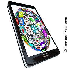 gömb, telefon, app, furfangos, ikonok