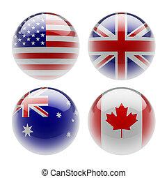 gömb, zászlók