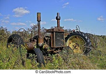 gömd, gräs, gammal, traktor, länge