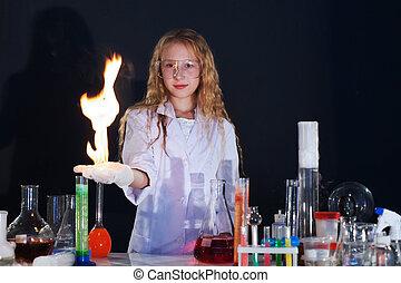 göndör, tudomány kísérlet, műterem, leány, látszik