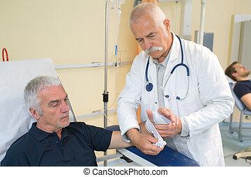 göngyöleg, kéz, türelmes, orvos