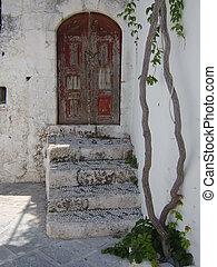 görög, öreg, épület
