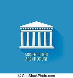 görög, ősi, építészet, ikon