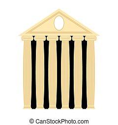 görög, ősi, columns., vektor, építészet, temple., illustration.
