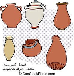 görög, ősi, váza