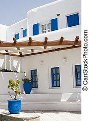 görög, jellegzetes, építészet, sziget