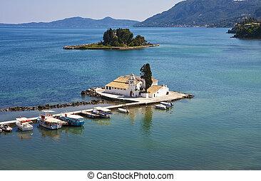 görög, kikötő, templom