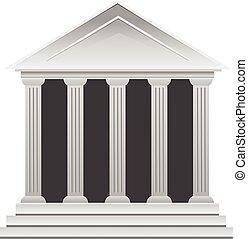 görög, történelmi, part, épület