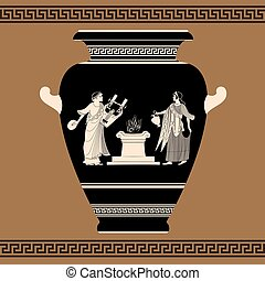 görög, vase., vektor