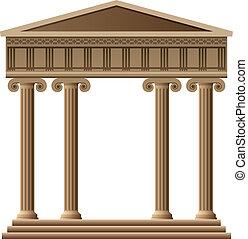 görög, vektor, ősi, építészet