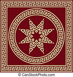 görög, vektor, díszítés, arany, kanyarog