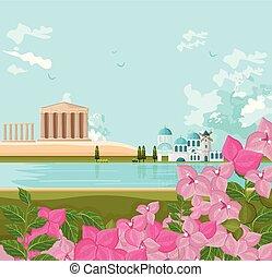 görög, vektor, háttér, építészet, táj