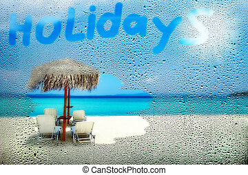 görögország, gyönyörű, ablak, át, savanyúcukorka, tengerpart