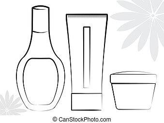 göra, kosmetisk, kollektion, uppe, produkter, vit, .vector