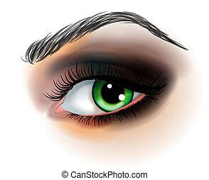 göra, vektor, ögon, uppe, illustration