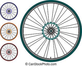 gördít, állhatatos, -, elszigetelt, ábra, bicikli, vektor, fehér
