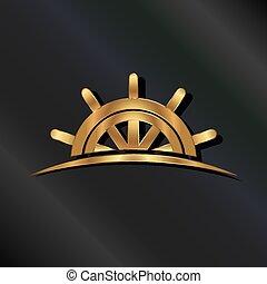 gördít, arany-, hajó, tengeri, jel