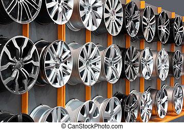 gördít, autó, abroncs, alumínium