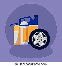 gördít, autó, olaj, autógumi, gallon
